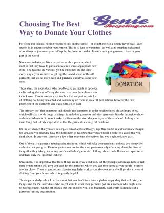 Choosing The Best Way to Donate Your Clothes