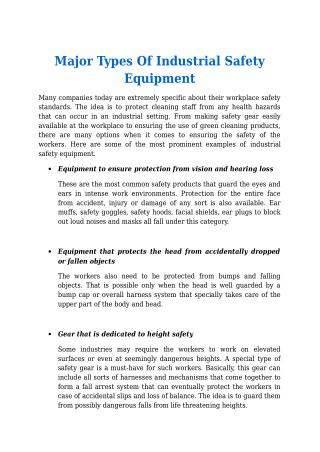 Major Types Of Industrial Safety Equipment