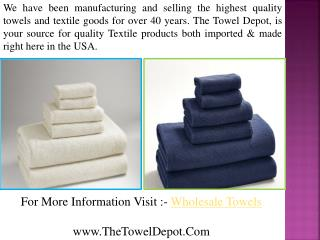 Wholesale Towels Retailers USA