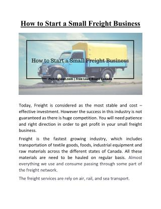 How to Start a Small Freight Business