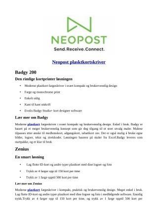 Neopost Plasktkortskriver