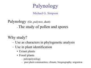 Palynology  Michael G. Simpson