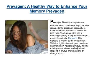 Prevagen Supplement to Boost Your Brain Power