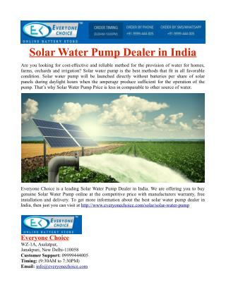 Solar Water Pump Dealer in India