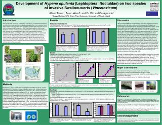 Development of Hypena opulenta Lepidoptera: Noctuidae on two species  of invasive Swallow-worts Vincetoxicum  Alison Tra