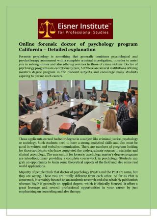 Online forensic doctor of psychology program California – Detailed explanation