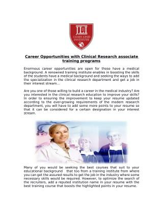 Get Career Opportunities With Clinical Research Associate Training Programs