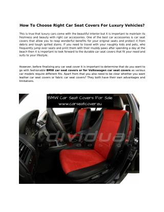 How To Choose Right Car Seat Covers For Luxury Vehicles?
