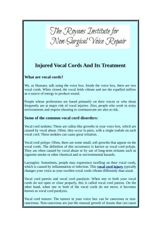 Recover Your Injured Vocal Cords
