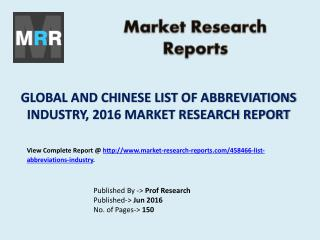 2016 List of Abbreviations Industry Report - Global and Chinese Market Trends and Scenario Forecasts 2021