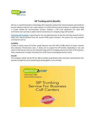 SIP Trunking and Its Benefits