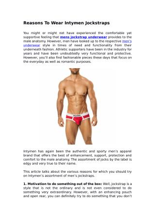 Reasons To Wear Intymen Jockstraps