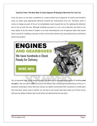 Used Car Parts: The Best Way To Cater Expense Of Buying A New Part For Your Car