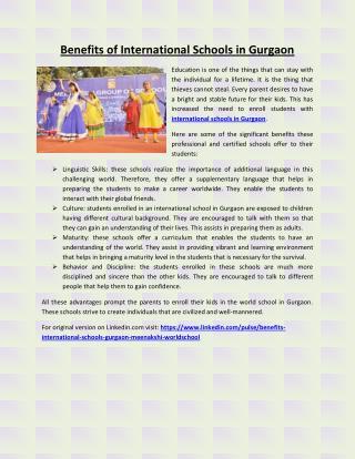 Benefits of International Schools in Gurgaon
