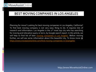 List of Best Moving Companies in Los Angeles