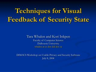 Techniques for Visual Feedback of Security State