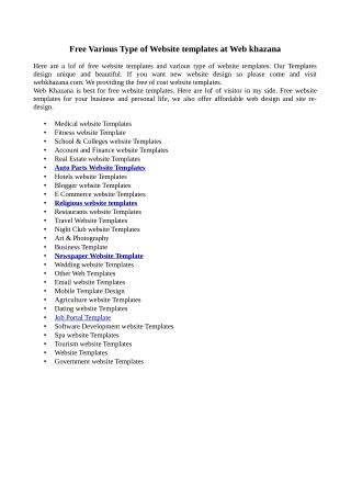 Free Various Type of Website templates at Web khazana