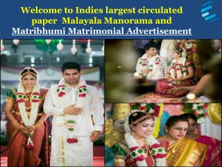 Book Mathrubhumi/Manorama matrimonial matrimonial classified text ad Online - http://adeaction.com