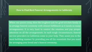 How to Find Best Funeral Arrangements in California