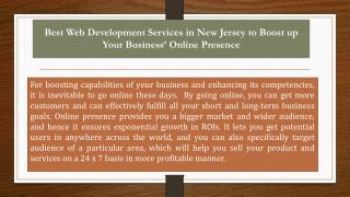 Best Web Development Services in New Jersey to Boost up Your Business� Online Presence