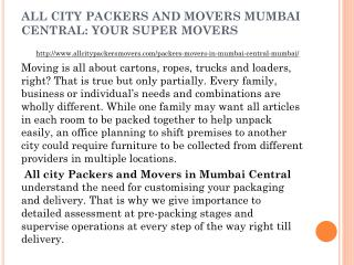 All City Packers and Movers Mumbai Central: Your Super Movers