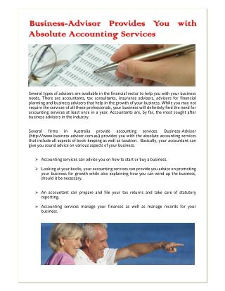Business-Advisor Provides You with Absolute Accounting Services