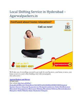 Local Shifting Service in Hyderabad - Agarwalpackers.in