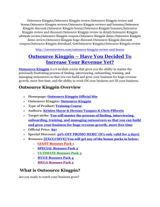 Outsource Kingpin review demo & BIG bonuses pack