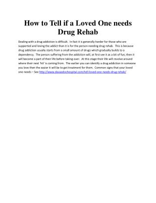 How to Tell if a Loved One needs Drug Rehab