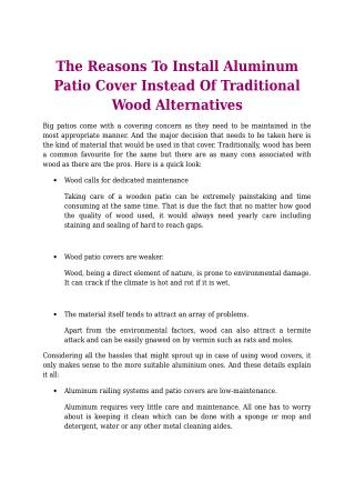 The Reasons To Install Aluminum Patio Cover Instead Of Traditional Wood Alternatives