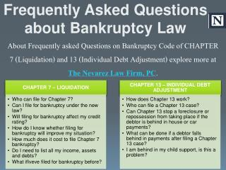 Frequently Asked Questions about Bankruptcy Law