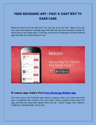 Free Recharge App : Fast & Easy Way to Earn Cash