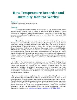 How Temperature Recorder and Humidity Monitor Works?