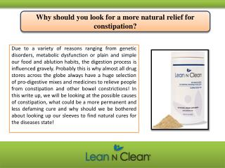 Why should you look for a more natural relief for constipation?