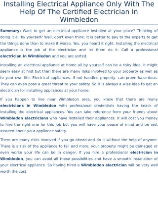 Installing Electrical Appliance Only With The Help Of The Certified Electrician In Wimbledon