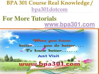 BPA 301 Course Real Tradition,Real Success / bpa301dotcom