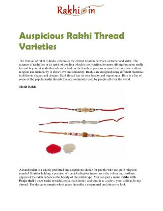 Auspicious Rakhi Thread Varieties