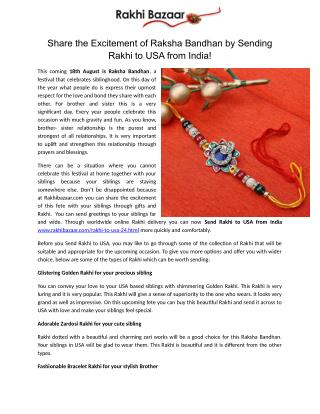 Share the Excitement of Raksha Bandhan by Sending Rakhi to USA from India!