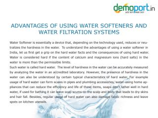 Water Softeners, Water Filtration Plants for home in India Demoport.in