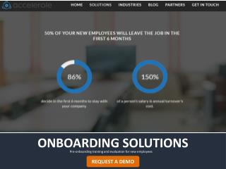 Onboarding Solutions - Pre-onboarding training and evaluation