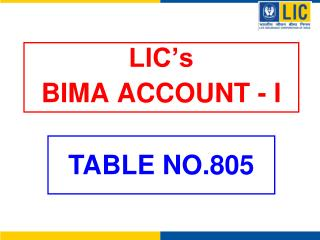 LIC s BIMA ACCOUNT - I