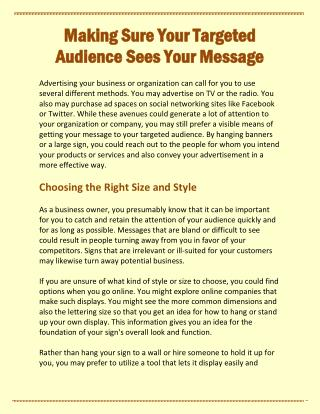 Making Sure Your Targeted Audience Sees Your Message