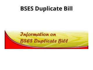 Bses Duplicate Bill