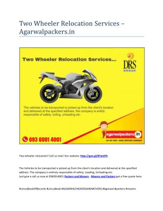 Two Wheeler Relocation Services - Agarwalpackers.in