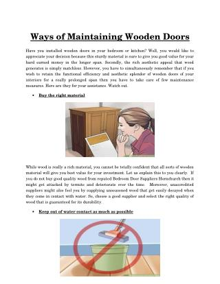 Tips to maintain wooden doors