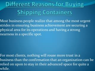 Different Reasons for Buying Shipping Containers