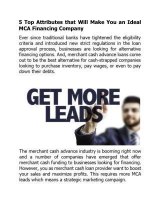 5 Top Attributes that Will Make You an Ideal MCA Financing Company