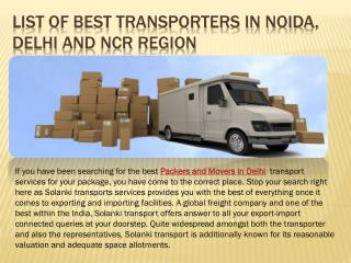 list of Best transporters in Noida, delhi and ncr region