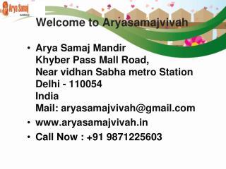 Arya Samaj Marriage in Gurgaon | Arya Samaj Mandir Noida - Aryasamajvivah.in