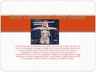 Bikini Competition Coach Boulder Colorado